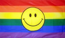 RAINBOW SMILEY - HAND WAVING FLAG (MEDIUM)
